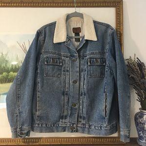 Lauren Jeans Co Jacket Shearling Collar Coat Lined